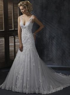 Plunging V Neck Lace Wedding Dress Drop Waist Bridal Gown I WANT THIS DRESS