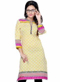 Printed Yellow Cotton Kurti
