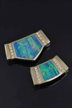 Australian Opal Slide Pendants with Diamonds by The Hileman Collection. Beautiful opal inlaid in yellow gold accented by pave` set diamonds. These slides are perfect for your naked omega chain. Australian Opal Jewelry, Pendant Design, Gold Accents, Omega, Naked, Diamonds, Jewelry Design, White Gold, Wedding Rings
