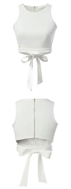 white plain bondage crop vest -we can add a coat or kimono over it and wear shorts or short skirt in the bottom Summer Crop Tops, Cute Crop Tops, Bow Tops, Cropped Tops, Tank Tops, Blouse Patterns, Blouse Designs, Crop Top Designs, White Bow Tie