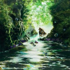 Akiane Kramarik (painting) horse running in the creek with bubbles