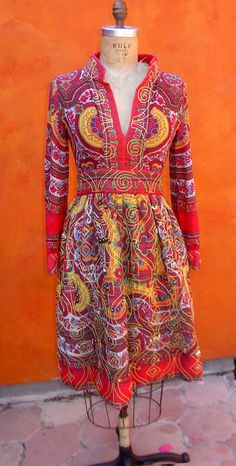 Vintage 1950s 60s Ethnic Boho Beaded Dress. Silver Gold Beading. Red, Green, Yellow blue Indian Sari Print