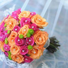 pretty, colorful bridal bouquet