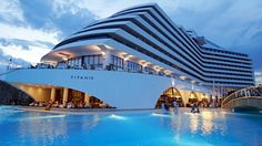 """Image Courtsey of Titanic Beach Resort. There are Hotels and Hotel Resorts which are actually now being fashioned and constructed to resemble and look like a Luxury Cruise Ship. This is the """"Titanic Resort Hotel"""" in Turkey. Luxury Beach Resorts, Beach Hotels, Hotels And Resorts, Luxury Hotels, Luxury Spa, Luxury Travel, Unusual Hotels, Titanic Ship, Hotels In Turkey"""