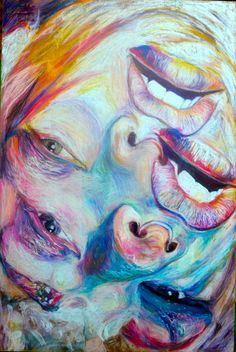 distorted face pastel colours