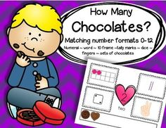 Valentine's Day - How Many Chocolates? Matching number formats 0-12 (center) - numeral ~ word ~ 10 frame ~tally marks ~ dice ~ fingers ~ sets of chocolates.  Includes: Set of 13 full page number mats 0-12; Cards set to match to each mat, 5 cards for each mat; BONUS follow-up activity - cut and paste booklet to make (b/w) - number sets 0-12. 33 pages
