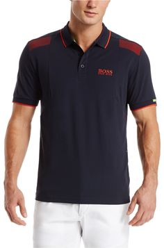 BOSS Green 'Paddy MK' | Modern Fit, Moisture Manager Stretch Cotton Blend Polo Shirt Dark Blue free shipping