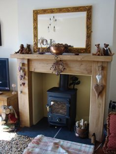 Beautiful wood surround for a wood burning fire.