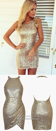 Gold Homecoming Dresses Halter, Short Prom Dresses Sheath, Sexy Party Dresses Open Back, Sparkly Cocktail Dresses Sequin College Formal Dresses, Modest Formal Dresses, Vintage Formal Dresses, Dresses Short, Vintage Homecoming Dresses, Cute Homecoming Dresses, Graduation Dresses, Party Dresses, Sparkly Cocktail Dress