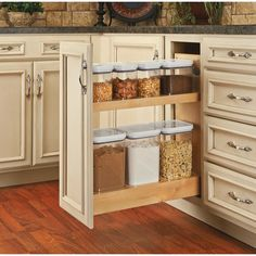 Buy the Rev-A-Shelf Natural Direct. Shop for the Rev-A-Shelf Natural 448 Series Wide Pull Out Base Organizer with Soft Close Slides for Full Height Base Cabinet and save. Kitchen Decor, Kitchen Pantry Cabinets, Kitchen Organization, Kitchen Design, Kitchen Storage Solutions, Base Cabinets, Kitchen Cabinet Accessories, Custom Kitchen Cabinets, Trendy Kitchen