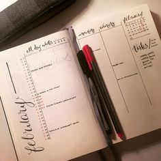 #planwithmechallenge Day 2: February Monthly  Think I've figured out how I'd like to have my monthly intro spread. Wanted a list calendar to put events / appointments in but also wanted a month view as I like to visualise the month quickly so thought this layout would work well. Also wanted my header to be along the left hand side so flicking through will be easy to find later on down the line. We'll see how it goes - might make some tweaks next month  #bulletjournal #bulletjournaling…