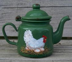 SMALL Green Enamel  TEA POT - HEN Rooster Art French Country T. McMurry (It's a HEN but who cares. Very nice)