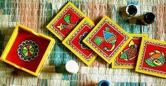 easy madhubani paintings for beginners Diy Crafts For Gifts, Cork Crafts, Arts And Crafts, Madhubani Art, Madhubani Painting, Wooden Painting, Knife Painting, Coaster Art, Coaster Design