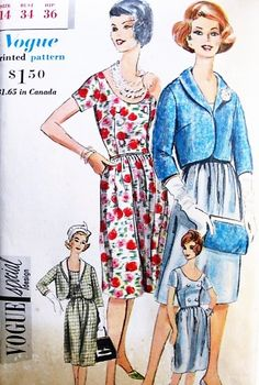 CLASSY Dress and Jacket Pattern VOGUE Special Design 4196 Easy Elegance Daytime or Evening Bust 34 Vintage Sewing Pattern UNCUT-Authentic vintage sewing patterns: This is a fabulous original dress making pattern, not a copy. Because the sewing 60s Patterns, Vintage Vogue Patterns, 1960s Fashion, Vintage Fashion, Classic Fashion, Dress Making Patterns, Antique Clothing, Jacket Pattern, Classy Dress