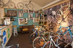 This is one of the reasong to love the Cycleyou bike shop in Amsterdam. Enjoying a good espresso surrounded by cycling memorabilia and beautiful bikes http://www.cycleyou.nl/ #rih #derosa #serotta #pegoretti