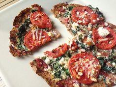 Spinach Tomato Feta Flatbread Pizza. Just like pizza gourmet<3