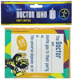 Official Doctor Who Party Ware - 6 Invites and 6 Envelopes