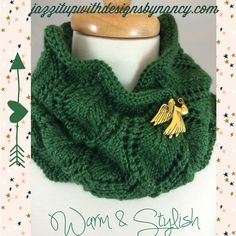 Dark Green Hand knit Cowl Scarf Neckwarmer Beautiful with any brooch #cpromo