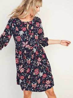 Soft-Woven Keyhole Swing Dress for Women | Old Navy Womens Swing Dress, Keyhole Dress, Old Navy Women, Beautiful Gowns, What I Wore, A Line Skirts, Cold Shoulder Dress, Dress Up, Casual