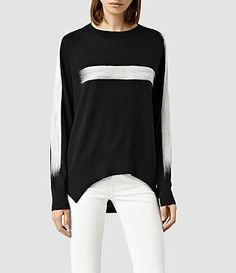Womens Punch Sweater (BLACK/CHALK) - product_image_alt_text_1