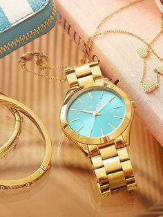 Reloj dorado con azul michael kors