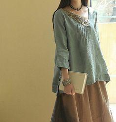 Blue Linen shirt/ Linen sark / blouse/ rark/ by Eloneeclothing Boho Fashion, Girl Fashion, Womens Fashion, Fashion Design, Look Boho, Bohemian Style, Beautiful Outfits, Cool Outfits, Elisa Cavaletti