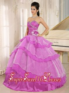 Sweetheart Beaded and Ruched Ruffled Layeres Popular Sweet 16 Dresses in Hot Pink
