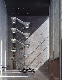 Arne Jacobsen - The iconic Danmarks National Bank, Copenhagen. Completed posthumously in 1978. Via.