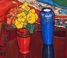 Criss Canning (1947-) - Nasturtiums, Iris and Blue Vase