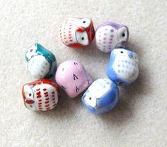 Ceramic Owl Beads Craft Supplies Bead by CatsBeadKitsandMore