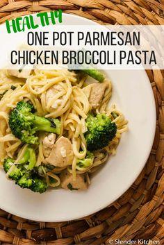 One Pot Creamy Parmesan Chicken Broccoli Pasta - Slender Kitchen