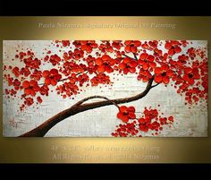 Oil painting on canvas Ready to hang ORIGINAL Abstract Red Blooming Tree Heavy Palette Knife by Nizamas 48 Ready to hang ORIGINAL Abstract Contemporary Red by Artcoast Painting Edges, Acrylic Painting Canvas, Abstract Canvas, Canvas Wall Art, Modern Oil Painting, Blooming Trees, Sell My Art, Red Flowers, The Originals