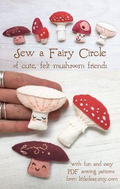 Felt Patterns Free, Felt Ornaments Patterns, Craft Patterns, Sewing Patterns, Felt Diy, Felt Crafts, Diy For Teens, Crafts For Teens, Felt Mushroom