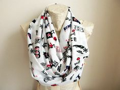 Hello Pattern White Scarf  Love Pattern İnfinity by HeraScarf