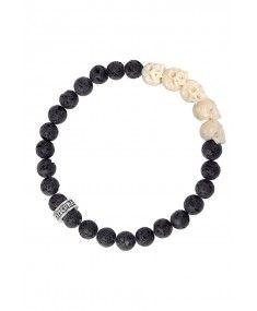 King Baby - 'Lava Rock Bead with White Bone Skull Bridge' Bracelet King Baby Jewelry, Lava, Bones, Bridge, Skull, Bead, Feminine, Rock, Sterling Silver