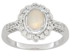 .55ct Oval Cabochon Ethiopian Opal With .64ctw Round White Topaz Sterling Silver Ring Erv $106.00