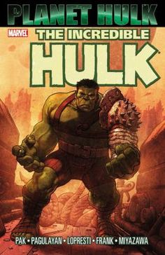 The Incredible Hulk: Planet Hulk by Greg Pak (FIC Hulk - Graphic Novels). The Incredible Hulk, exiled into outer space, becomes enslaved on the planet Sakaar which is ruled by the Red King, and eventually becomes the gladiator known as Green Scar, uniting his fellow fighters to start a revolution to help change their world. Collects Incredible Hulk #92-105, Planet Hulk: Gladiator Guidebook, and material from Amazing Fantasy #15 and Giant-Size Hulk #1.