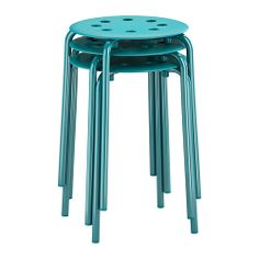 MARIUS Stool - blue - IKEA - stacks away for more space. not great for wiggle kids though