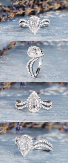 Unique Moissanite Engagement Ring Pear Shaped Antique Wedding Women Split Shank Forever One White Gold Halo Anniversary Gift Personalized