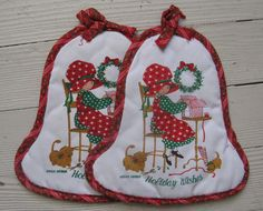 holly hobbie pot holders set of 2 red by rivertownvintage on Etsy
