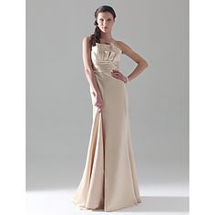 A-line Strapless Empire Floor-length Satin Bridesmaid Dress – USD $97.99    Champagne Satin