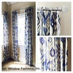 Today's installation..... Love the combination of the Ikat fabric and glass…