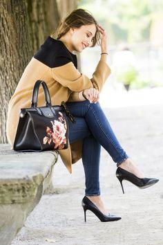 thebrunette longchamp manteau beige et noir 6