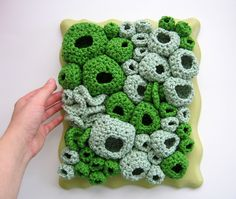 Moss and Lichen crochet sculpture... i would like this on PILLOWS!!