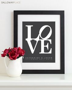 Wall Art Print LOVE Poster - personalized art first anniversary gift wedding shower valentines gifts for couples