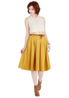 Breathtaking Tiger Lilies Skirt in Mustard. This morning, a bundle of bright flowers was waiting at your door. #yellow #modcloth