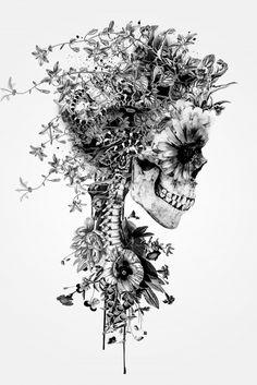 Impression d'art graphique «Floral Skull Series: Skull B&W Floral Skull Tattoos, Skull Tattoo Flowers, Skull Tattoo Design, Flower Skull, Body Art Tattoos, Sleeve Tattoos, Hand Tattoos For Men, Pretty Skull Tattoos, Side Thigh Tattoos Women