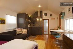 This Boulder garage is now a beautiful mini apartment.  You are looking at every room from this angle.