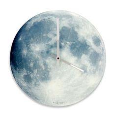 NeXtime Glow-In-The-Dark Blue Moon Wall Clock in Grey - BedBathandBeyond.com