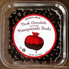 Trader Joe's Dark Chocolate covered Pomegranate Seeds - Club Trader Joe's Careful, they are way too good. Pomegranate Recipes, Pomegranate Seeds, Trader Joes Food, Trader Joe's, Best Trader Joes Products, Chocolate Brands, Chocolate Club, Late Night Snacks, Candied Nuts